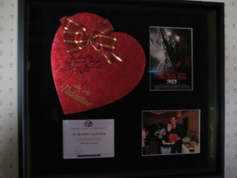 This is a candy heart boxed used in the movie. It is given to Axel by Megan. I had it signed by Chris Carnel, who played the miner, and we took a photo holding the heart.